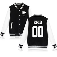 Wholesale Exo Kris - Wholesale- shion Lovers Fashion Jacket EXO Boys Luhan Kris Sweatshirt Tracksuit Autumn Winter Plus velvet Long Sleeve Women Hoodies