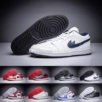 Wholesale Nylon Ice Pack - 2017 Air Retro 1 mens basketball shoes Low OG Premium Vachetta Tan Pack black white Ice Blue Triple White sports shoes sneaker US 8.0-47