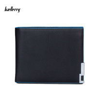 squares side pockets - Baellerry New Luxury Mens PU Leather Open Wallet Black Blue Side Short Purses Casual Business Wallets Purse For Men High Quality Money Clip