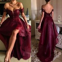 Wholesale Cheap Prom Dresses China Made - Sexy 2017 Burgundy Lace And Organza High Low Prom Dresses Cheap Off The Shoulder Backless Formal Party Gowns Custom Made China EN2131