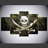 Wholesale ghost painting - 5 pcs set Ghost pirate ship Skull Painting Canvas Art Print Wall Picture For Living room Modern art room decor Unframed