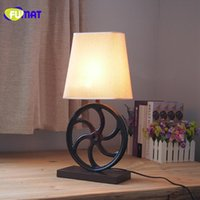 Wholesale Ac Gears - FUMAT American Country Retro Table Lamp For Bar Restaurant E27 Table Lamp Cloth Bedside Reading Lamp Resin Gear Desk Light
