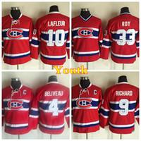 maurice richard hóquei camisa venda por atacado-Juventude Montreal Canadiens Vintage 4 Jean Beliveau 9 Maurice Richard 10 Jérsei Guy Lafleur Crianças Casa Vermelho 33 Patrick Roy Hockey Jersey