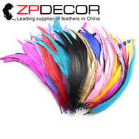 Wholesale Long Rooster Tail Feathers - ZPDECOR 40-45cm(16-18 inch) Good Quality Long Cheap Dyed Mix-color Rooster Tail Feathers for DIY Craft Decoration