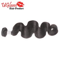 Wholesale Brazilian Body Wave Hair 1pcs - 1pcs lot Unprocessed Uglam Brazilian Virgin Hair Body Wave human hair Weaves free shipping No tangle No shedding with free gift
