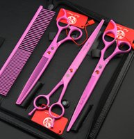 Wholesale Professional Pink Hair Scissors - Wholesale- purple dragon pink paint 8.0 inch hair scissors set pet scissors suit, professional hair hairdressing scissors pet groom shears