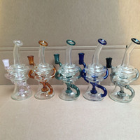 Wholesale Hot Hangers - Colouful Hot Sellers Glass Bongs Inline Percolato Thick Base dab Recycler Oil Rigs With Bowl Joint 14.4mm Banger Hanger