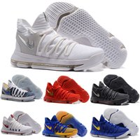Wholesale Kd Orange Yellow - Newest Zoom KD 10 Anniversary PE Oreo Red Men Basketball Shoes KD 10 X Elite Low Kevin Durant Grade School Sport Sneakers