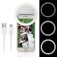Wholesale Iphone Flash Ring - Rechargeable Selfie LED Ring Flash Light Fill-flash Camera Photography For IPhone Mobile Phone 3 Mode Lighting