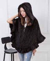 Wholesale Ladies Fur Ponchos - Genuine Mink Fur Poncho Hand Knited Real Fur Coat Luxury Pashmina For Lady Women Cape Geniune Mink Fur Cloak