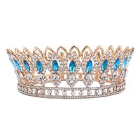 Wholesale wedding hair jewelry blue - Baroque Style Wedding Bridal Rhinestone Full Crown Horse Eye Blue Crystal Hair Tiaras Pageant Party Jewelry Gold Color Hg 00212