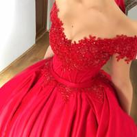 vestido de satén rojo corsé al por mayor-Modest Off hombro rojo vestido de bola Vestidos de quinceañera apliques con cuentas de satén Corset Lace Up vestidos de baile Sweet Sixteen Dresses