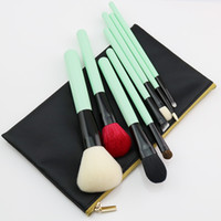 Wholesale Lighted Horse - Odessy Natural Makeup Brushes Goat Horse Hair 8pcs Professional Beauty Essentials Green Make Up Brush Set with Bag High Quality