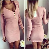 Wholesale Ladies Sexy Apparel - Women Sexy Club Dress In Spring Plus Size Dresses Long Sleeve V Neck Zippers Cotton Solid Pink Gray Pencil Apparel For Ladies