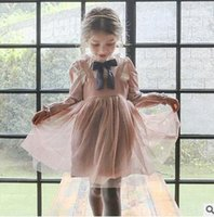 Wholesale Pink Doll Clothing - Girls princess dresses Autumn new Kids Bowsnot tie suspender dress children doll collar flare sleeve mesh gauze dress Kids clothes G1051