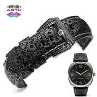 Wholesale Steel Band Tools - Vine Pattern Calf Genuine Leather 24 26mm Watch Band Stainless Steel Retro Buckle for Panerai Breitling Man Series+Tools
