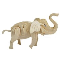 Wholesale Elephant Puzzle - MICHLEY 1pc 3D Wooden Jigsw Puzzle Kid Educational Woodcraft DIY Kit Toy Simulation Models Little Elephant 1ZJ0039-woodpuzzle