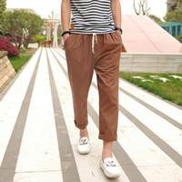 Wholesale Linen Cropped Pants - Wholesale- 2017 New Arrival Fashion Straight Men's Cross-Pants Pantyhose Pencil Pants Slim Linen Casual Ventilation Cropped Pants 13M0127