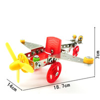 Wholesale screw toys - DIY Building Blocks Handmade Stereo Aircraft Screw 3D Assembly Toys Metal Stainless Steel Toy Bricks Hot Sale LX010 B