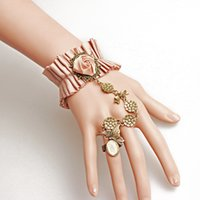 Wholesale Platinum Cloth - Fashion jewelry Pink Flower ring bracelet for women cloth lolita lace bracelet with ring one opisthenar jewelry love bracelet