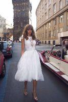Wholesale Bridal Dresses Size 28 - Popular Cap Sleeve Backless Short Wedding Dress New Lace Sash Bridal Gowns Custom Size US 2-28 W++ Tulle Tea Length A Line Transparent