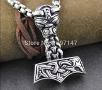 Wholesale horn products - Hot product Thors Hammer mjolnir norse viking god pendant necklace mythology New Necklace high qualityfor Men