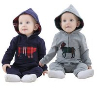 Wholesale Boy London Kids - London style boys girls rompers toddler kids horse cartoon printed long sleeve jumpsuit fashion Infants cotton romper Hot sale G0229