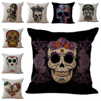 Wholesale skull bedding - Skeleton Sugar skull Pillow Case Cushion cover Linen Cotton Throw Pillowcases sofa Bed Pillow covers Drop shipping PW369