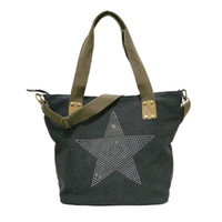 Wholesale Studded Bags Black - WHOLESALE BIG STAR STUDDED GLITTER CANVAS HANDBAG-Plus Size Multifunctional Sequined Travel Tote Shoulder Bag Diamonds Vintage Bolsos H02