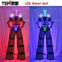 Wholesale David Guetta Robot - LED Robot Costume David Guetta LED Robot Suit illuminated Kryoman Robot Stilts Clothes Luminous Costumes