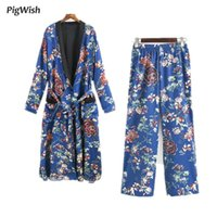 Wholesale Chiffon Lace Pocket Shirt - 2017 Floral Print Shirt Blue Long Japanese Kimono Cardigan Women Sashes Pocket Long Sleeve Tops Blouse Feminin Blusas Femme