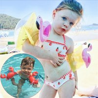 Wholesale Wholesale Crab Rings - New baby Flamingo crab Swimming Band Arm Ring Floating Inflatable Sleeves PVC Safety Swimming supplies C2439