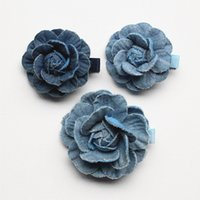 Wholesale Navy Baby Hair - Top Quality 16pcs  lot Floral Hair Accessories Navy Blue Camellia Flower Baby Girls Hairpins Cowboy Material 5CM Diameter Hair Clips