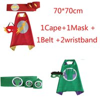 Wholesale Costumes For Students - Size 70*70cm Superhero Style for Teenagers Student Cosplay Costumes With Cape and Mask and Belt and One Pair wristband
