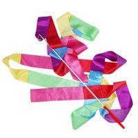 Wholesale Gymnastics Ribbon Stick - Super sell 4m Gym Dance Ribbon Rhythmic Art Gymnastic Streamer Twirling Rod Stick