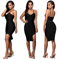 Wholesale Summer Dresses Sexy Body - Summer hot style bandage skirt European and European condole belt the sexy body of a nightclub pure color dress