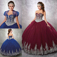 Wholesale White Quinceanera Dresses Sweetheart Neckline - 2017 Burgundy Beaded Ball Gown Quinceanera Dresses Sweetheart Neckline Appliques Prom Gowns With Jacket Tulle Lace-up Back Sweet 16 Dress