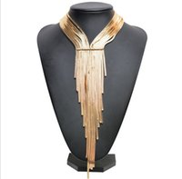 Wholesale Crystal Choker Collar - Woven long tassels necklace collar choker necklace vintage Gold Chunky statement necklace women Jewelry Gifts YT