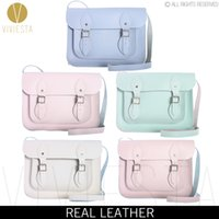 "Wholesale Pastel Bags - Wholesale-11"" PASTEL BRITISH GENUINE LEATHER SATCHEL BAG - Women's Vintage Candy Baby 2016 Pantone Color Crossbody Messenger Bag Handbag"