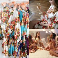 pajama images - Sexy Floral Bridesmaid robes Long Sleeve V Neck Bridesmaid Pajama Short A Line Evening Party Robe