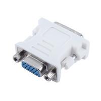 tarjeta vga usada al por mayor-Envío gratuito 10 unids / lote DVI-I 24 + 5 Macho a HD 15 Pin VGA Tarjeta de Video Mujer Monitor Convertidor VGA Adaptador Uso para PC portátil Blanco