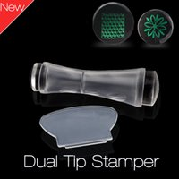 Wholesale Double Stamper Nail - New Dual-End Nail Art Stamper Double Headed Soft Professional Nail Art Stamp Clear Silicone Marshmallow Nail DIY Stamping 2017