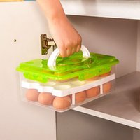 24 Grid Egg Box Organizador de contentores de alimentos Convenientes caixas de armazenamento Double Layer Durable Multifunctional Crisper Kitchen Products