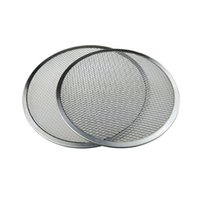 Wholesale Wholesale Aluminum Trays - 12'' Aluminum Pizza Tray Mesh Round Pizza Screen Pastry Baking Tools Pancake Net Baking Pan Pizza Net Baking Accessories ZA3032