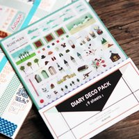 Vente en gros- 9Sheets / Lot Cute Iconic DIARY DECO PACK Kawaii Sticker Planner Stickers Note Sticker Message Sticker Papeterie H0108
