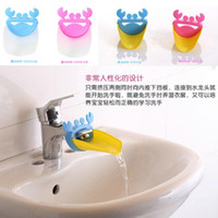 Wholesale Wholesale Kitchen Sinks Faucets - Fashion Children Baby Cartoon Crab Bathroom Kitchen Silicone Water Tap Sink Faucet Extender Hand Washing Device Toddler Gift