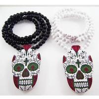 Wholesale Good Wood Necklace Skull - Skull Pendant Good Wood Hip-Hop Wooden NYC Punk Rock Fashion Men Necklace Wholesale