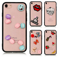 Wholesale Hard Plastic Cases Clear - 3D Flower Donuts Fruit Hard Plastic+TPU Case For Iphone 7 Plus 6 6S 6Plus Acrylic Clear Crystal Dual Hybrid Cover Skin 80PCS