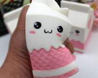 Wholesale Kawaii Gift Box - 30pcs lot-kawaii squishy pink milk box PU soft slow siring toys &gifts wholeasale