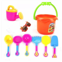 Wholesale Beach Paddles - Wholesale- 9pcs Kids Seaside Excavating Tools Enclosed Spade Shovel Sunglasses Outdoor Fun Hourglass Paddle Set Beach Sand Play Water Toy